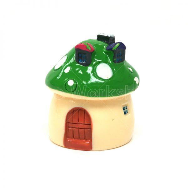 綠色蘑菇小屋樹脂擺件