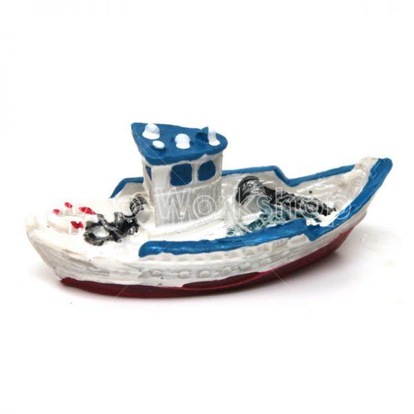 白色海邊小船樹脂擺件
