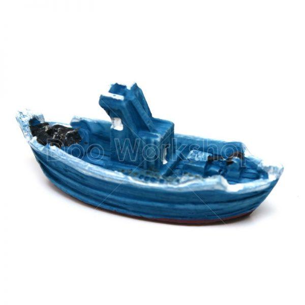 藍色海邊小船樹脂擺件