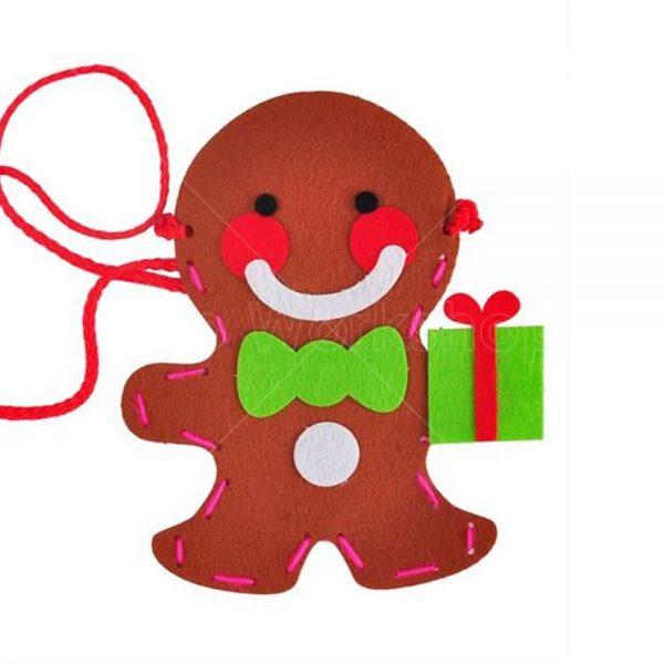 聖誕薑餅人不織布小手袋DIY材料包