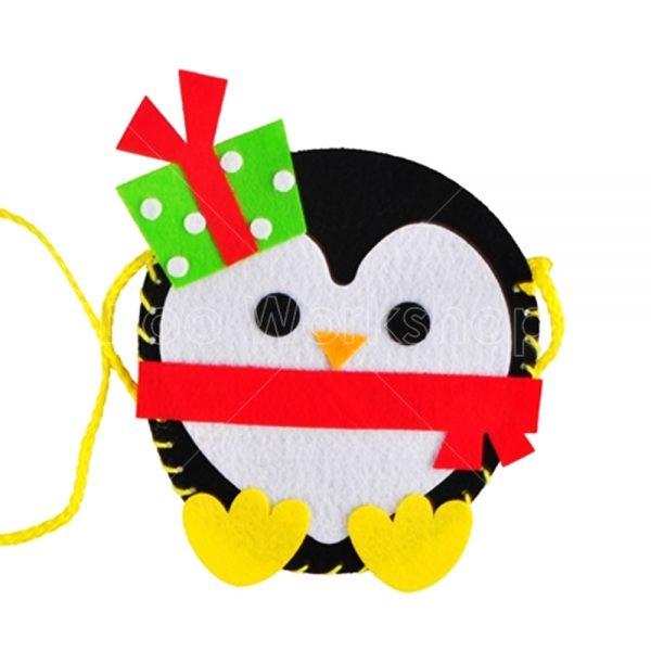 聖誕企鵝仔不織布小袋子DIY材料包