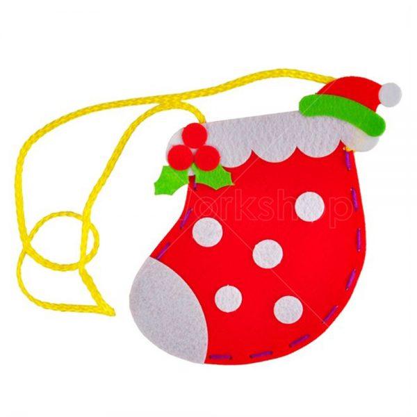 聖誕波點襪不織布小袋子DIY材料包