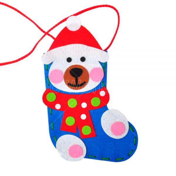 聖誕白熊不織布襪子小手袋DIY材料包