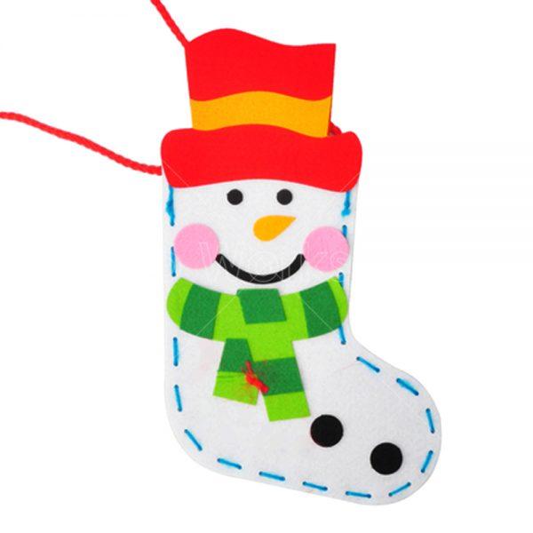 聖誕雪人不織布襪子小手袋DIY材料包