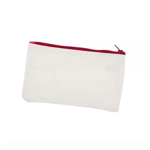 紅色拉鏈厚帆布袋18X10CM